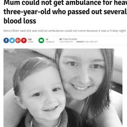 【海外発!Breaking News】救急車を要請した3歳児の母 「金曜の夜だから」と断られる(英)