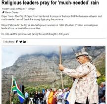 【海外発!Breaking News】危機的水不足の南ア・ケープタウン、市長主催で雨乞いの儀式を行う