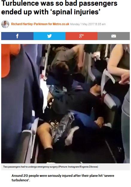 激しい乱気流で機内騒然(出典:http://metro.co.uk)