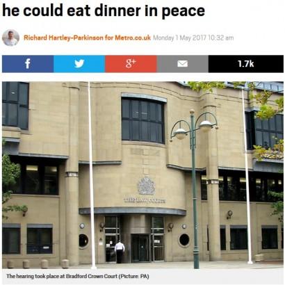 【海外発!Breaking News】「静かに食事がしたい」元妻を寝室に閉じ込めた男に5年の接近禁止命令(英)