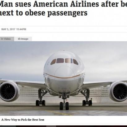 【海外発!Breaking News】隣席の肥満客に押し潰され14時間のフライト 豪男性、アメリカン航空を訴える