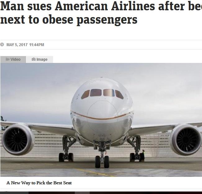隣が肥満体型の乗客だった男性、AAに損害賠償を請求(出典:http://www.news.com.au)