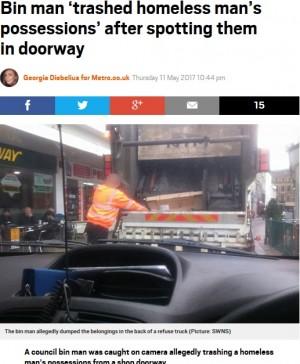【海外発!Breaking News】清掃車スタッフ、ホームレスの持ち物を全て捨てる(英)