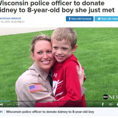 【海外発!Breaking News】女性警察官、見ず知らずの8歳少年に腎臓提供を決意(米)