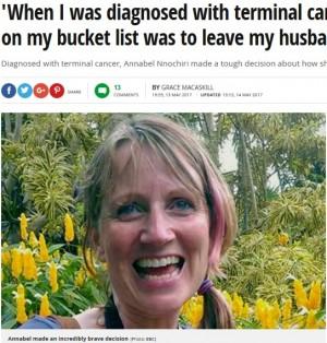 【海外発!Breaking News】がんで余命2年半と宣告された女性、夫との離婚を決意(英)