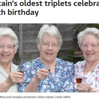 【海外発!Breaking News】イギリス最高齢の三つ子の女性、80歳誕生日を揃って祝う