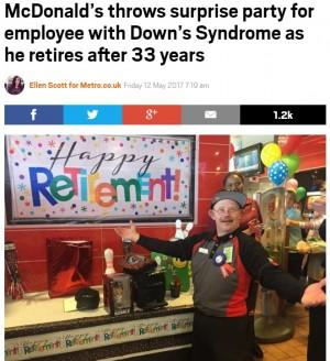 【海外発!Breaking News】マクドナルドで33年勤務 ダウン症の男性、退職の日迎える(米)