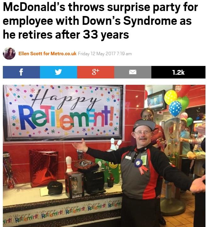 33年間マクドナルドで勤務したダウン症の男性(出典:http://metro.co.uk)
