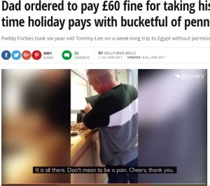 【海外発!Breaking News】学校を休ませて息子を旅行へ連れて行った父、罰金60ポンドを全て硬貨で支払う(英)