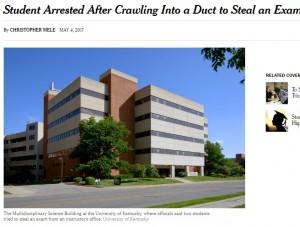 【海外発!Breaking News】「試験問題」を事前入手したかった大学生、教授のオフィスに天井から侵入(米)