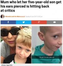 【海外発!Breaking News】5歳息子にピアスをさせた母親、世間の批判に反論(豪)