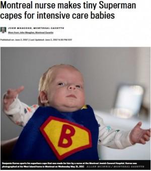 【海外発!Breaking News】小さな「スーパーヒーロー」にケープを手作りするNICU看護師(カナダ)