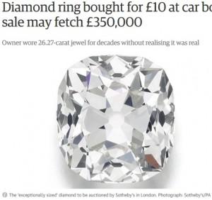 【海外発!Breaking News】がらくた市で買った1,400円の指輪、オークションで落札価格9,330万円に!(英)