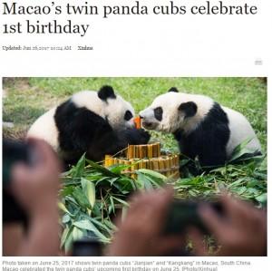 【海外発!Breaking News】竹製バースデーケーキに「1」のキャンドル マカオの双子パンダも超可愛い