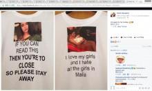 【海外発!Breaking News】恋人の不貞を心配した女性「私の彼に近寄らないで」Tシャツを作る(英)