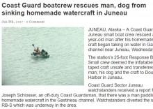 【海外発!Breaking News】ダクトテープ製のボートでアラスカの海峡を漂流 沿岸警備隊が男性と犬を保護