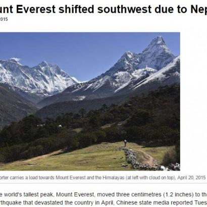 【海外発!Breaking News】エベレスト山の標高に変化? 2015年の地震の影響大きく