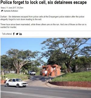 【海外発!Breaking News】警察官が留置場の鍵を閉め忘れ 殺人犯含む6人が脱走(南ア)