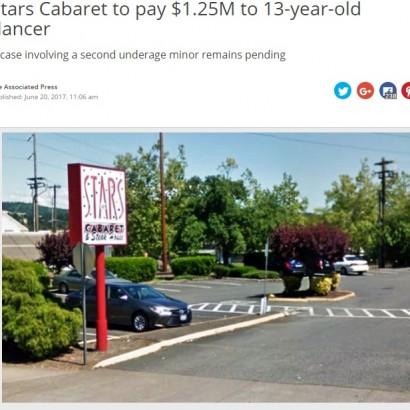 【海外発!Breaking News】未成年を働かせていたストリップクラブ 13歳少女に1億4千万円の慰謝料(米)