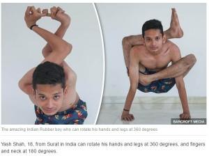 【海外発!Breaking News】関節は360度グルリ、四肢もクネクネ 体が超柔らかいインドの少年