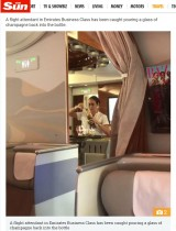 【海外発!Breaking News】エミレーツ航空CA、グラスシャンパンをボトルに注ぎ戻す瞬間を撮影される<動画あり>