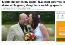 【海外発!Breaking News】娘の結婚式で マイクを持った父親の手に雷落ちる(カナダ)