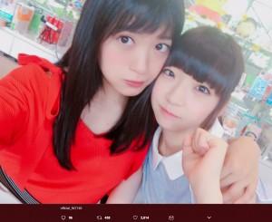 【エンタがビタミン♪】NGT48北原里英、荻野由佳と密着ショット 「最強師弟コンビ!」の声