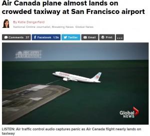 【海外発!Breaking News】エア・カナダ機、4機タキシング中の誘導路にあわや着陸 パイロット誤った思い込みか