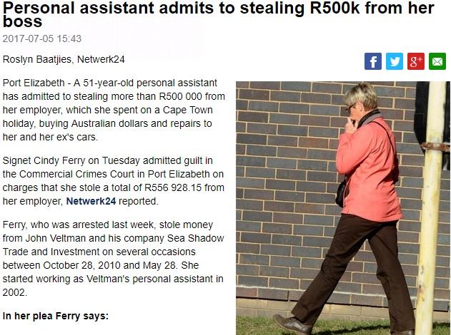 逮捕された社長秘書の51歳女(画像は『News24 2017年7月5日付「Personal assistant admits to stealing R500k from her boss」(Charles Pullen, Netwerk24)』のスクリーンショット)