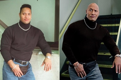 昔から老けていたドウェイン・ジョンソン(画像は『therock 2017年5月24日付Instagram「When I took this iconic absurdity of a picture in 1996 I was one year removed from sleeping on a used mattress I took from a garbage dumpster in the back of an hourly sex motel.」』のスクリーンショット)