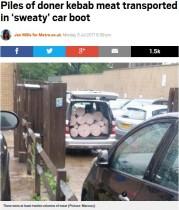 【海外発!Breaking News】まるでカーペット? 車のトランクにケバブ用肉を山積みに「もうケバブは買わない」の声(英)