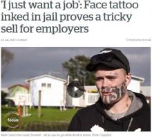 【海外発!Breaking News】顔のタトゥーが原因で職に就けない男性「僕はごく普通の人間なのに…」(ニュージーランド)