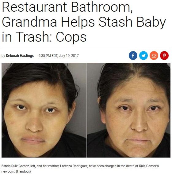 産まれたばかりの新生児をゴミ箱に捨てた女とその母親(画像は『Inside Edition 2017年7月19日付「Mother Gives Birth in Restaurant Bathroom, Grandma Helps Stash Baby in Trash: Cops」(Handout)』のスクリーンショット)