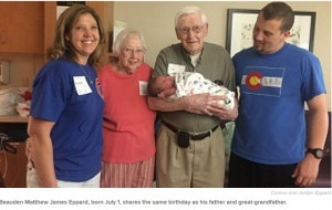 【海外発!Breaking News】確率33,000分の1! 曽祖父、父と同じ誕生日に生まれた赤ちゃん(米)
