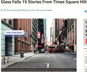 【海外発!Breaking News】NYタイムズスクエアの4つ星ホテル「ヒルトン」からガラスパネルが落下 車2台を直撃