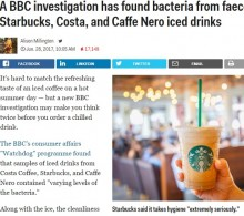 【海外発!Breaking News】スターバックスの氷から糞便性大腸菌を検出(英)