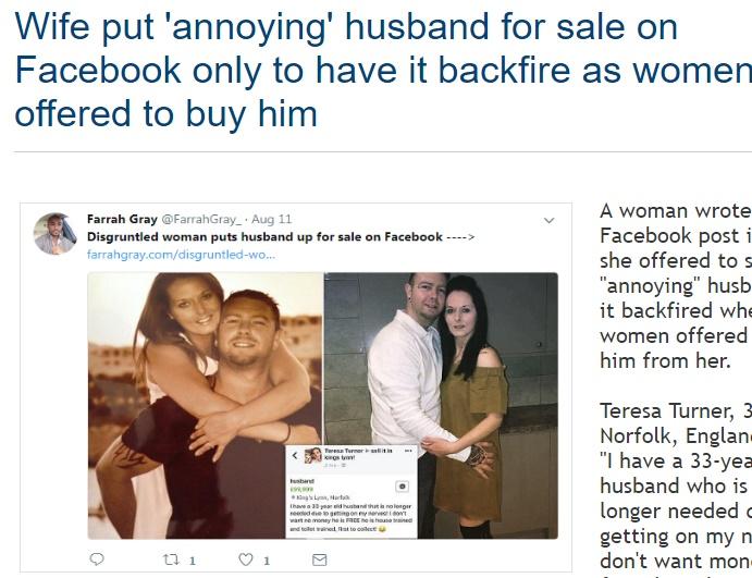 妻がFacebookでダメ夫の売却を計画(画像は『WorldWide Weird News 2017年8月13日付「Wife put 'annoying' husband for sale on Facebook only to have it backfire as women offered to buy him」』のスクリーンショット)