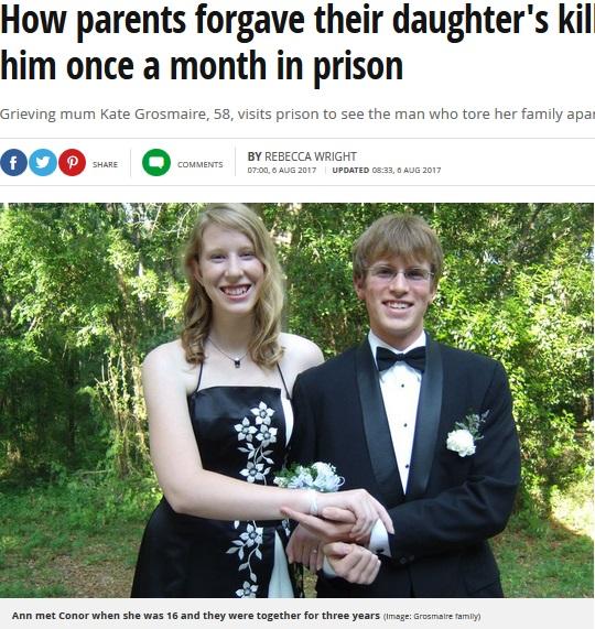 娘と3年間交際していた男(画像は『Mirror 2017年8月6日付「How parents forgave their daughter's killer and now visit him once a month in prison」(Image: Grosmaire family)』のスクリーンショット)
