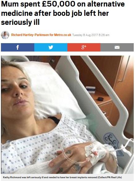 豊胸手術後、次々に病に襲われた母親(画像は『Metro 2017年8月8日付「Mum spent £50,000 on alternative medicine after boob job left her seriously ill」(Collect/PA Real Life)』のスクリーンショット)