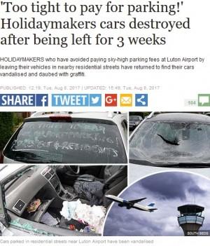 【海外発!Breaking News】空港の駐車代をケチり路上駐車 旅行者の車を何者かが破壊(英)