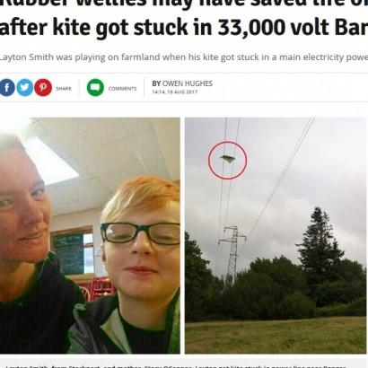 【海外発!Breaking News】電線に絡まった凧を取ろうとした少年、長靴のおかげで命拾い(英)