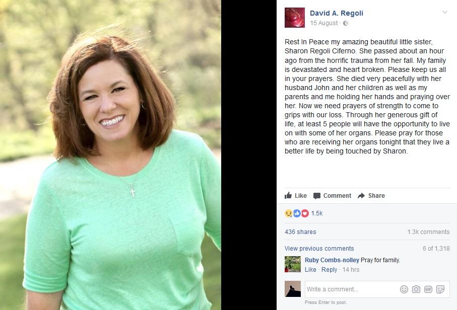 バルコニーから転落し命を落とした教師(Rest In Peace my amazing beautiful little sister, Sharon Regoli Ciferno.画像は『David A. Regoli 2017年8月15日付Facebook「Rest In Peace my amazing beautiful little sister, Sharon Regoli Ciferno.」』のスクリーンショット)