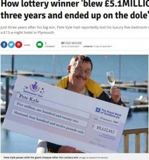 【海外発!Breaking News】宝くじで7億円超を獲得するも、3年で使い果たした男性の転落人生(英)