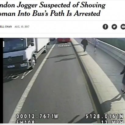 【海外発!Breaking News】ジョギング中に女性を車道に突き飛ばした男さっそく逮捕 写真公開が決め手に(英)
