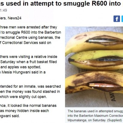 【海外発!Breaking News】バナナに現金を隠して受刑者へ差し入れようとした3兄弟、逮捕(南ア)