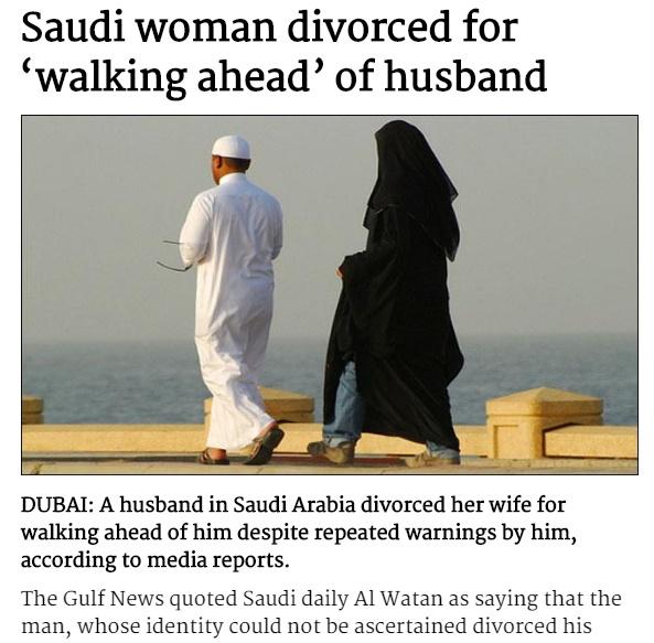 サウジアラビアでは男尊女卑の精神が離婚の一大原因(画像は『The News International 2017年8月22日付「Saudi woman divorced for 'walking ahead' of husband」』のスクリーンショット)
