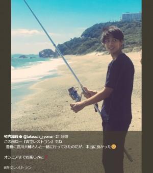 """【エンタがビタミン♪】竹内涼真、海で""""キス""""釣り リール握る姿に「私も釣られたい」"""