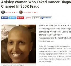 【海外発!Breaking News】38歳の女、ニセのがん闘病写真で寄付金5万ドル超を集め逮捕(米)