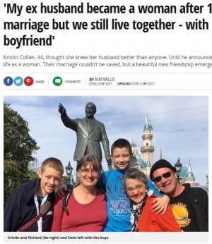 【海外発!Breaking News】性転換した夫、2人の子供、新しい恋人と一緒に暮らす女性(米)