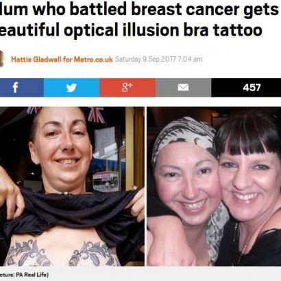【海外発!Breaking News】乳がんで両乳房切除した女性、素晴らしいアイデアのタトゥーを施す(英)